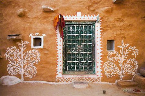 village house wall paintings rajasthan india home wall