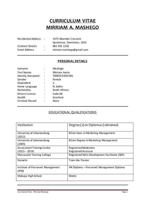 Example Of Cover Letter For Job Application South Africa