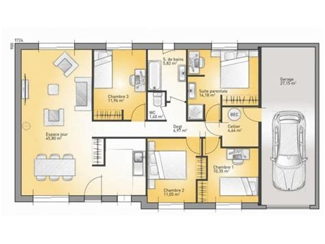 maison plein pied 4 chambres 1000 ideas about plan maison plain pied on