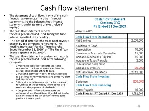cash flow statement format for hotels tourism finance management