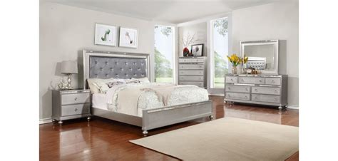 Grey Bedroom Furniture Set by B4183 Bedroom Set In Silver Finish