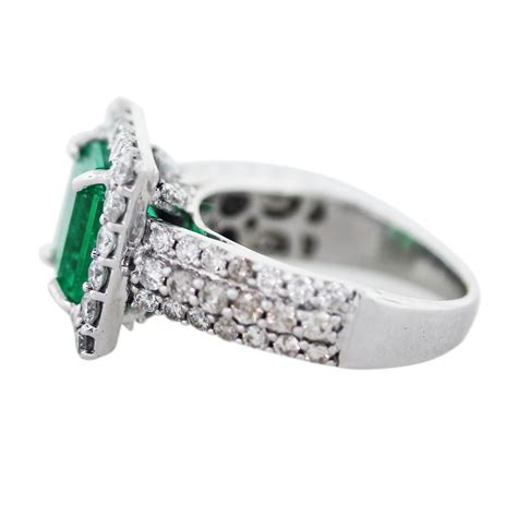 14k white gold emerald and ring