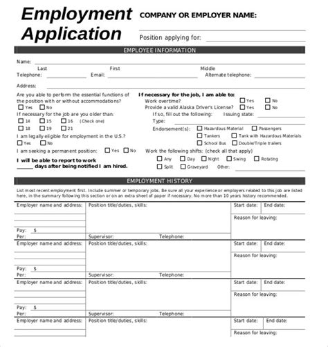 employment application template 21 exles in pdf