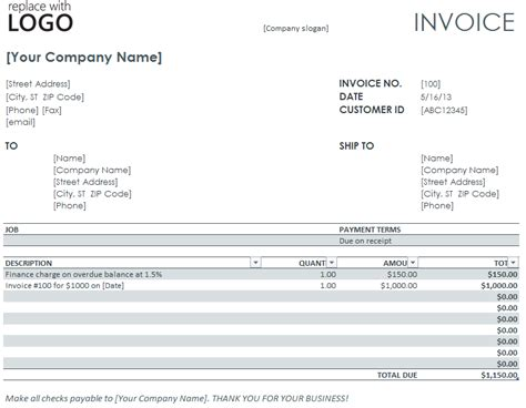 Finance Charge Letter Exle Invoicing Templates Invoice Templates From Microsoft