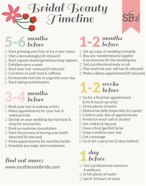 Wedding Hair And Makeup Timeline by Bridal Timeline Southbound