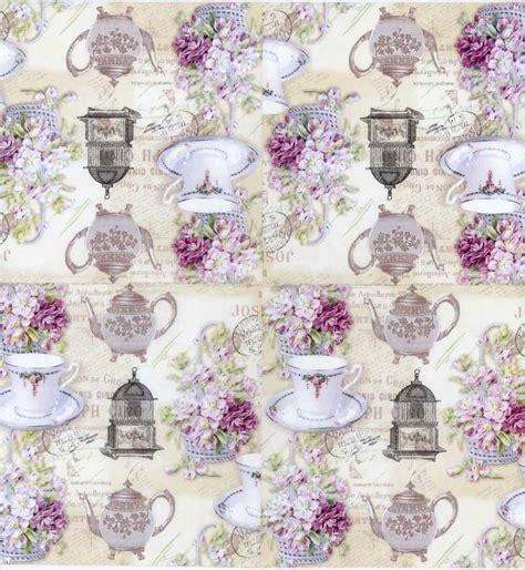 Purple Decoupage Paper - decoupage paper of tea pot tea cup purple roses tea