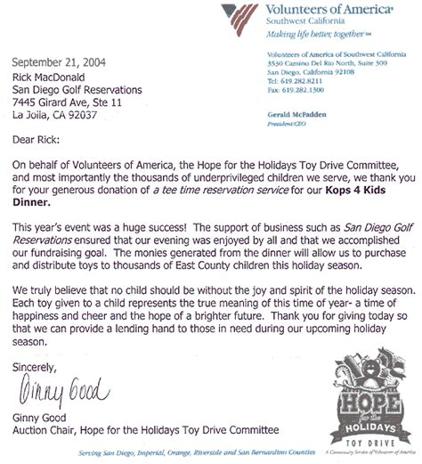 Fundraising Volunteer Thank You Letter San Diego Golf San Diego Golf Charity Golf Tournaments Charity Events In San Diego