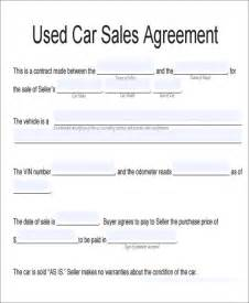 Agreement Of Sale Template For A Vehicle by 7 Vehicle Sales Agreement Sles Free Sle Exle