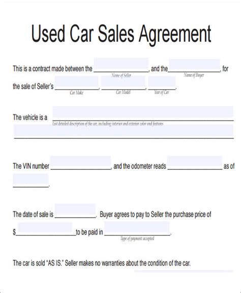 used car purchase agreement template 10 vehicle sales agreement sles free sle exle