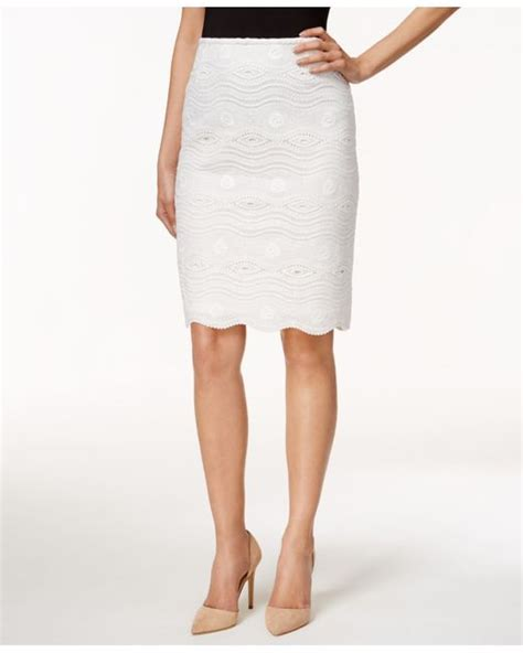 tahari lace pencil skirt in white save 31 lyst