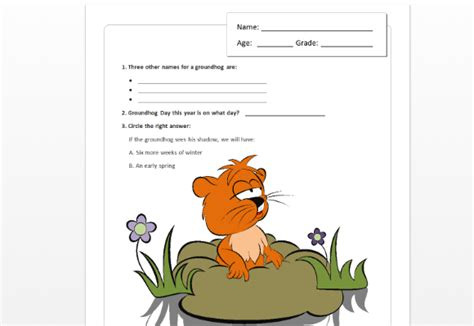 forms quiz template children s groundhog day quiz template for word