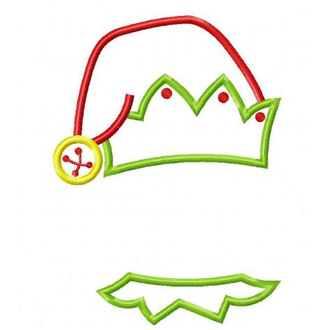 elf hat collar boy applique design
