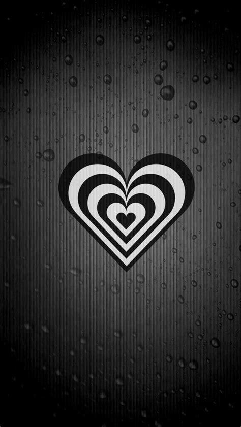 black  white heart iphone wallpaper background