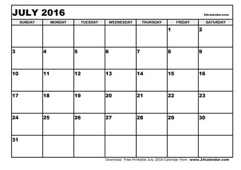 Blank Calendar Pages 2016 July 2016 Calendar