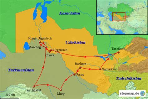 usbekistan regionen karte usbekistan karte reise nach turkmenistan und usbekistan