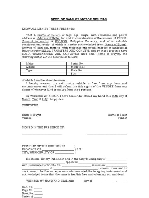 motor vehicle form template deed of sale of motor vehicle template