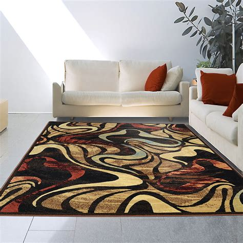 8x10 7 10 Quot X10 2 Quot Contemporary Modern Abstract Brown Blue Modern Floor Rug