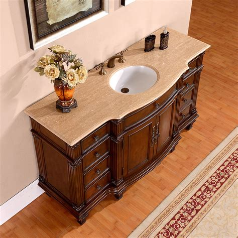 60 Inch Vanity Top Single Sink Silkroad 60 Inch Vintage Single Sink Bathroom Vanity Vein Cut Travertine Counter Top