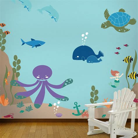 Shark Themed Bathroom by Ocean Themed Wall Mural Stencil Kit For Baby By Mywallstencils