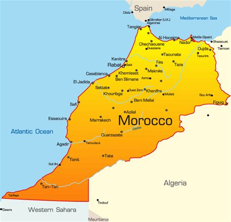 africa map morocco morocco map showing attractions accommodation
