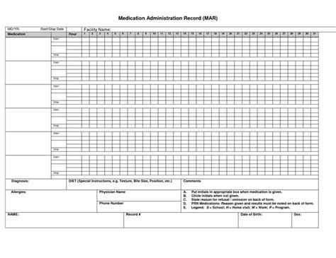 mar template nursing printable medication administration record medication