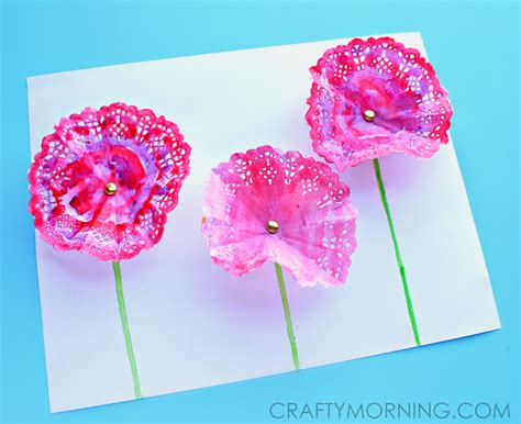 How To Make Flowers Out Of Paper Doilies - 3d doily flowers craft for crafty morning