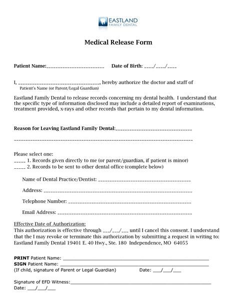 medical release of information form template complete guide example