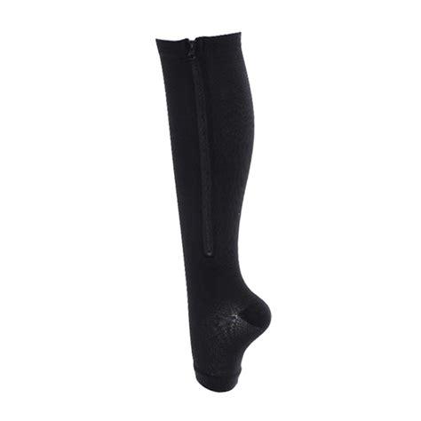 Zip Sox New Zip Up Compression Socks Kaos Kaki Terapi new compression zip sox socks zipper leg support unisex
