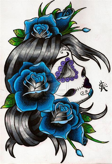 skull with flowers tattoo designs sugar skull flash design by wastelandink deviantart