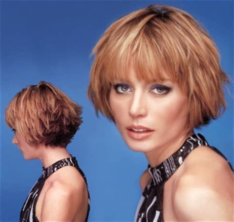 short wispy & layered hair style with bangs, light brown
