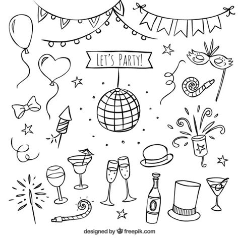 hand draw design elements vector hand drawn party elements vector free download