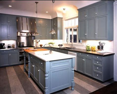 Grey Painted Kitchen Cabinets Delorme Designs Great Gray Blue Kitchen