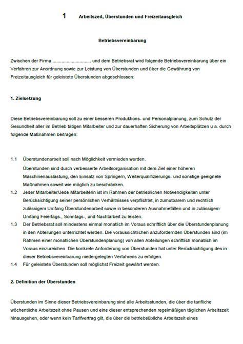 Muster Und Vorlagen Für Den Betriebsrat Betriebsvereinbarung 220 Berstunden Vorlage Zum