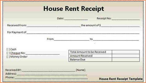 fillable rent receipt template fillable rent receipt 9 rent receipt template excel return