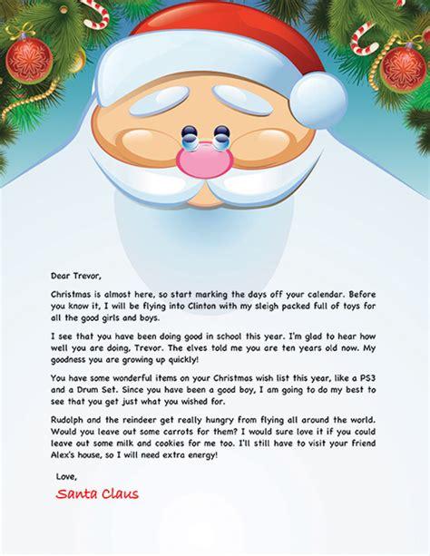 personalized letter from santa santa letter exle personalized letters from santa