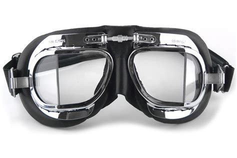 Klassische Motorradbrille by Halcyon Mk 49 Black Leather Split Lens Motociclo