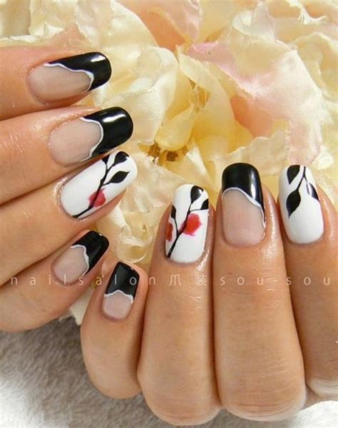 black and red love pattern fake nails japanese cute false japanese nail art japanese nails and nail art designs on