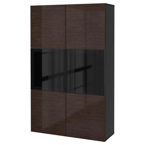 besta glass doors best 197 storage combination w glass doors black brown