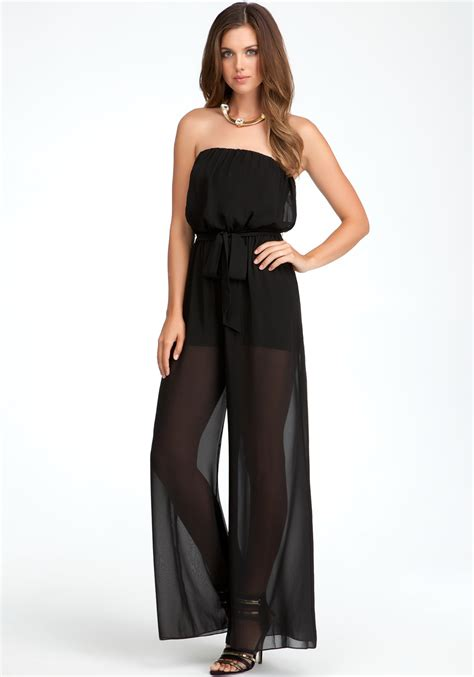Legged Jumpsuits by Bebe Strapless Wide Leg Jumpsuit In Black Lyst