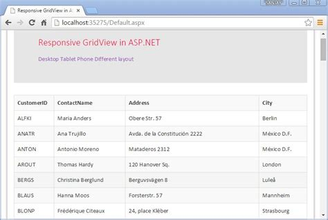 gridview layout design responsive gridview in asp net
