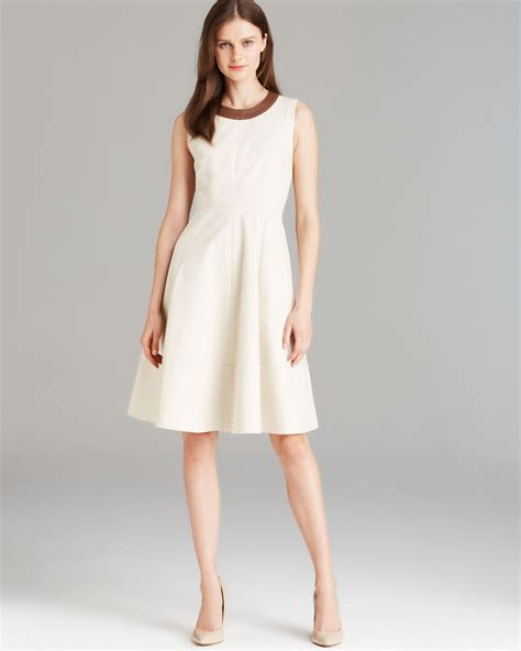 43798 White Trim Dress lyst kate spade new york leather trim flare dress in white