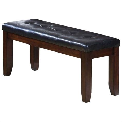faux leather dining bench acme urban faux leather dining bench in black and cherry
