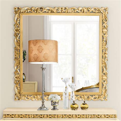 exclusive large square designer gold leaf mirror