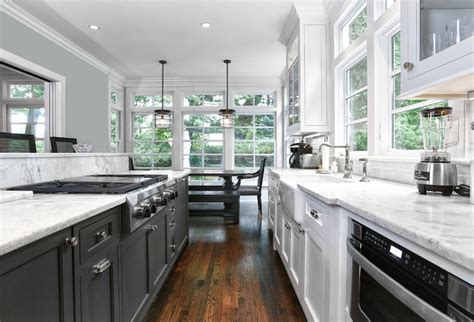 Galley Style Kitchen Design Ideas - black and white galley kitchen transitional kitchen derosa builders