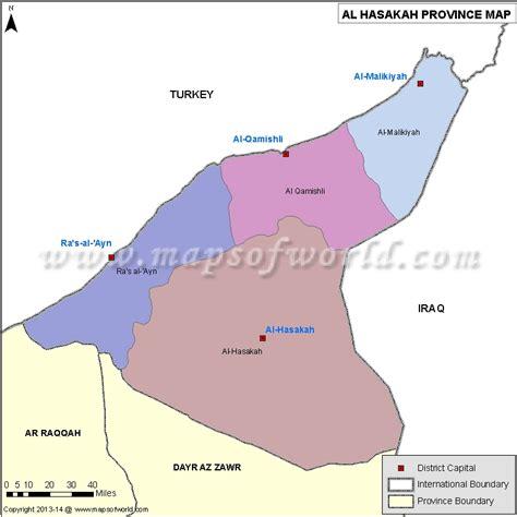 al hasakah map districts  al hasakah province syria