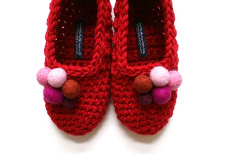 red house slippers red crochet slippers house shoes with handmade felt embellishments for women one of a kind on