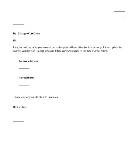 Change Of Address Letter Sle Template Change Of Address Template