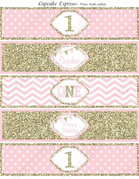 printable gold label one first birthday girl coral pink gold printable water