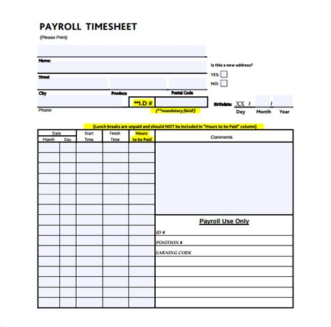 payroll time sheets template 21 payroll timesheet templates free sle exle