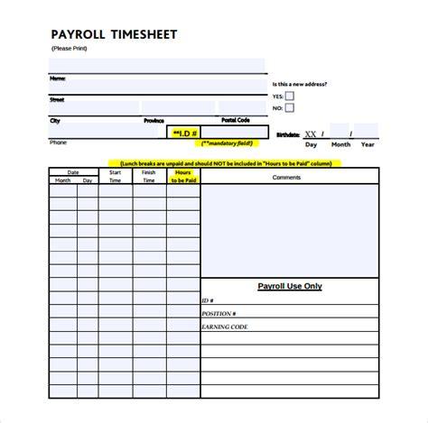 21 Payroll Timesheet Templates Free Sle Exle Format Download Free Premium Templates Payroll Template Pdf
